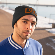 Load image into Gallery viewer, DOU Burnt Orange Text / Black Embroidered Knit Beanie