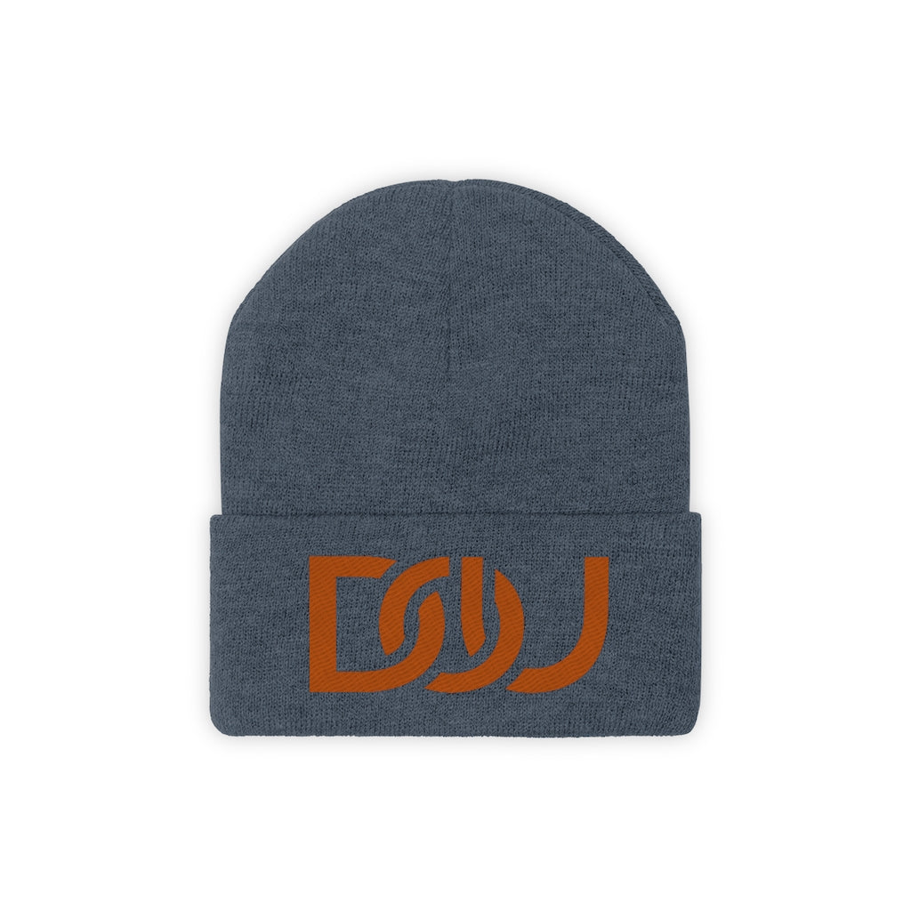 DOU Burnt Orange Text / Millennium Blue Embroidered Knit Beanie