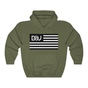 DOU Black & White Classic Flag Series / Military Green Hoody