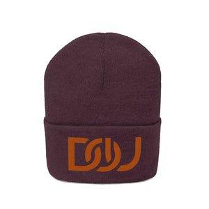 DOU Burnt Orange Text / Maroon Embroidered Knit Beanie