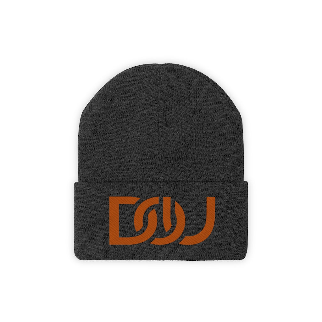 DOU Burnt Orange Text / Black Embroidered Knit Beanie