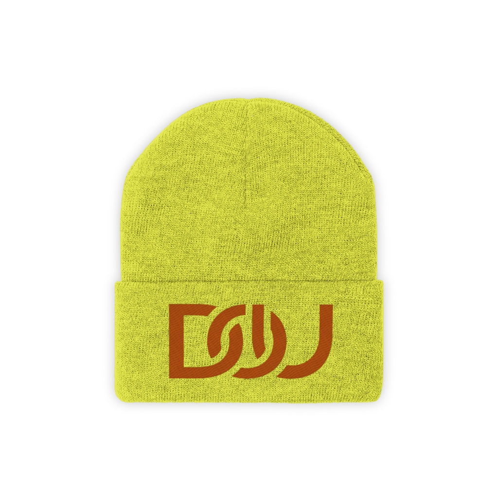 DOU Burnt Orange Text / Neon Yellow Embroidered Knit Beanie