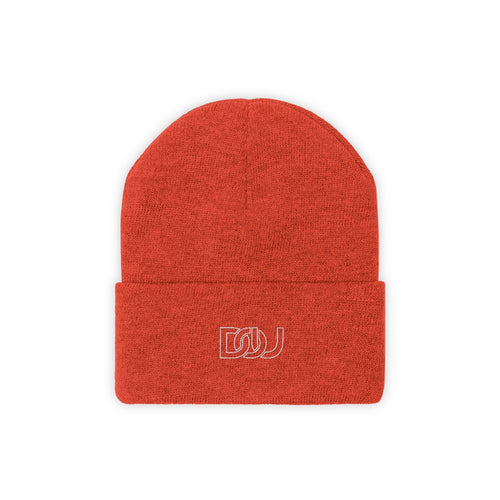 DOU Classic Knit Deep Orange Embroidered Beanie
