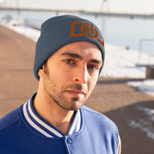Load image into Gallery viewer, DOU Burnt Orange Text / Millennium Blue Embroidered Knit Beanie