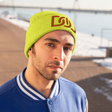 Load image into Gallery viewer, DOU Burnt Orange Text / Neon Yellow Embroidered Knit Beanie