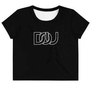 DOU Classic White Letter / Black Crop Tee