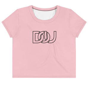 DOU Classic Black Letter / Pink Crop Tee