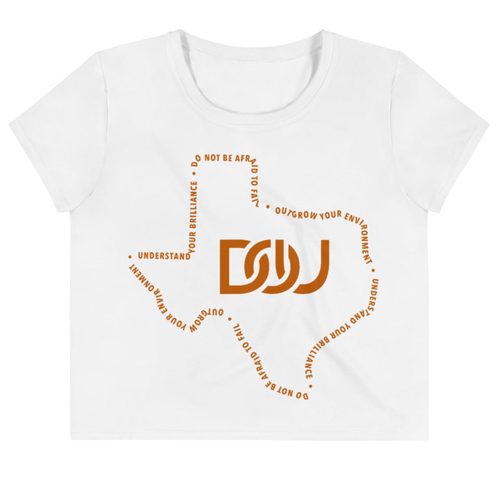 DOU Texas Series White Crop Tee