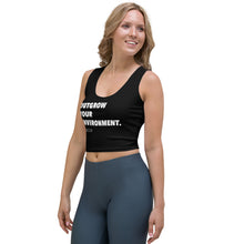 "Load image into Gallery viewer, ""Outgrow Your Environment"" Black No-Sleeve Crop Top"