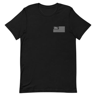 DOU Black & White Classic Flag Series / Black Embroidered Tee