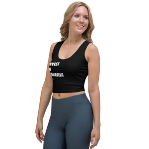 """Invest In Yourself"" Black No-Sleeve Crop Top"