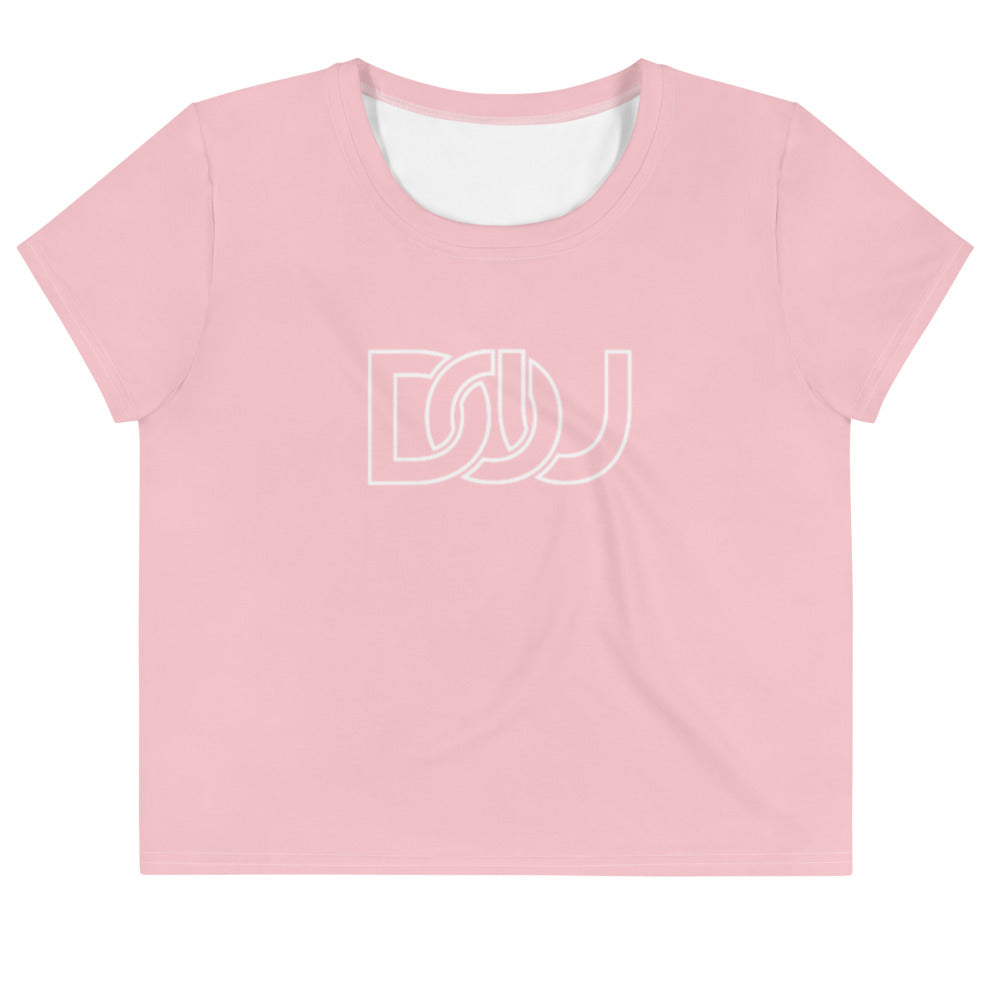 DOU Classic White Letter / Pink Crop Tee