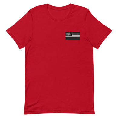 DOU Black & White Classic Flag Series / Red Embroidered Tee