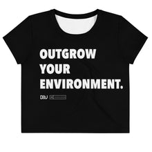 "Load image into Gallery viewer, ""Outgrow Your Environment"" Black Crop Tee"