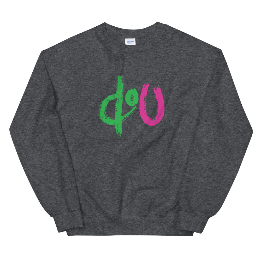 doU Green/Pink Logo Sweatshirt - Nino Brown Series (Dark Heather Grey)