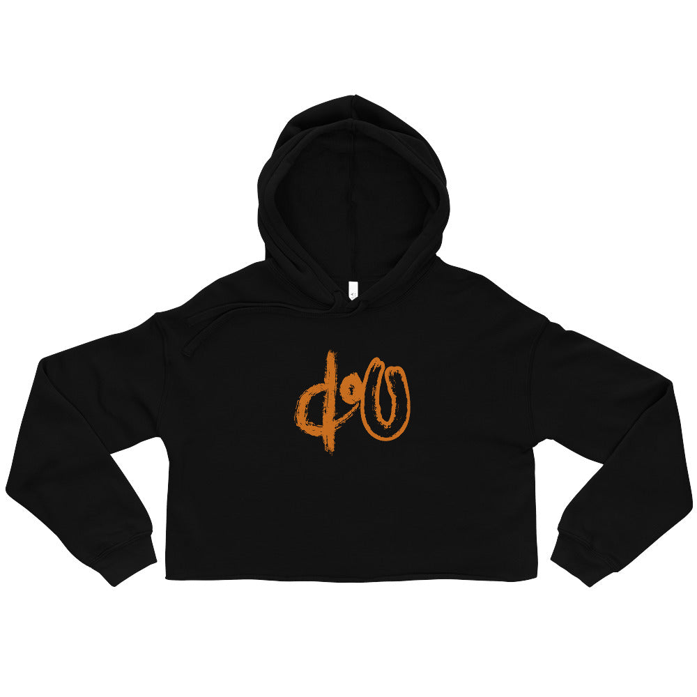 doU Women's Burnt Orange Logo Crop Hoodie - Nino Brown Series (Black)