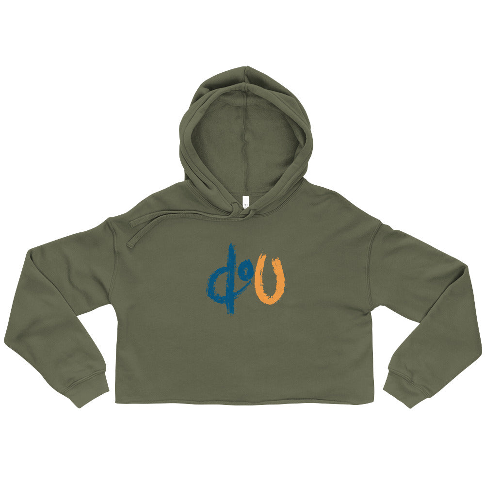 doU Women's Blue/Orange Logo Crop Hoodie - Nino Brown Series (Military Green)