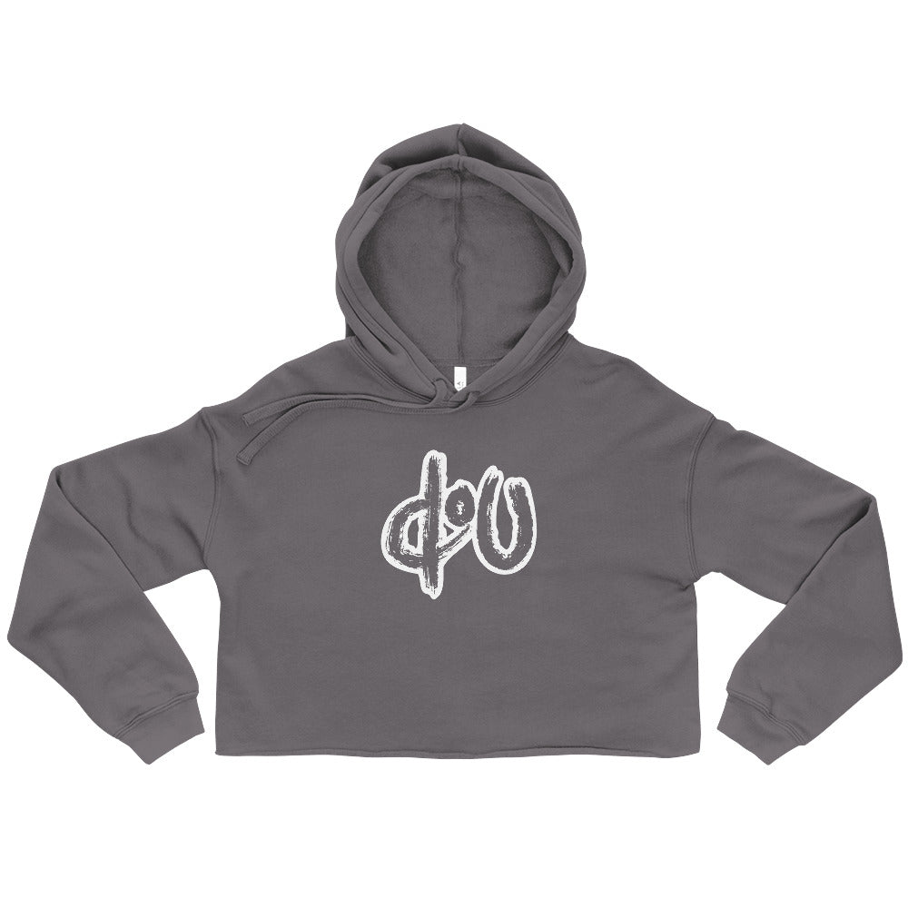 doU Women's Classic Logo Crop Hoodie - Nino Brown Series (Gray)