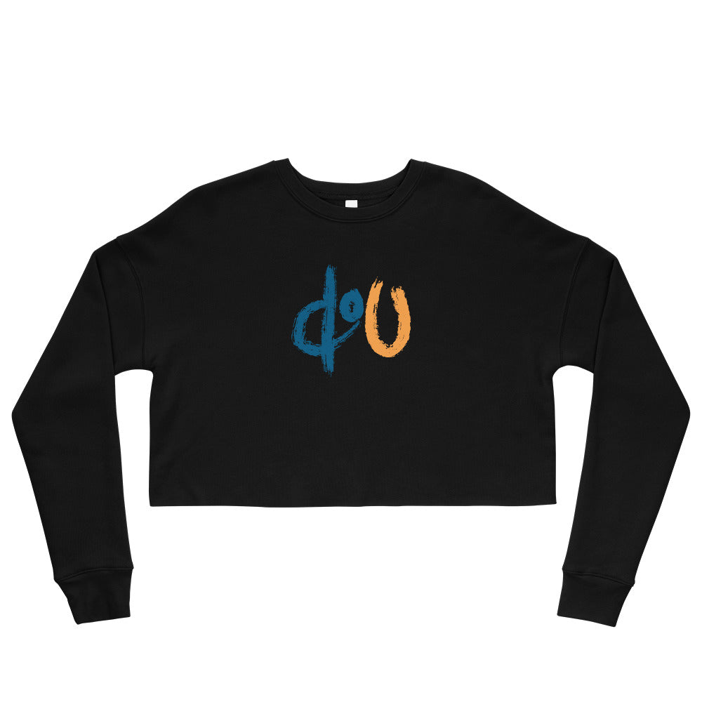 doU Women's Blue/Orange Logo Crop Sweatshirt - Nino Brown Series (Black)