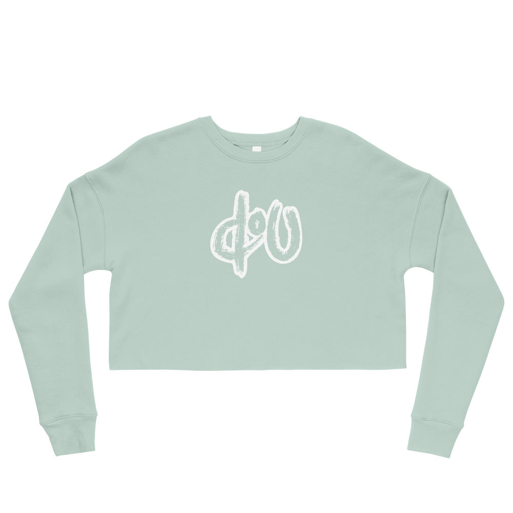 doU Women's Classic Logo Crop Sweatshirt - Nino Brown Series (Dusty Blue)