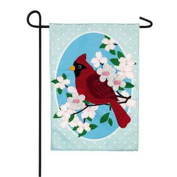 Cardinal Dot & Dogwoods Linen Flag - 2 sizes