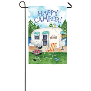 Happy Camper Garden Suede Flag