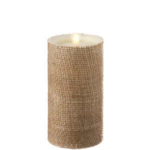 Moving Flame Burlap Pillar Candle - 2 sizes