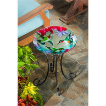 "Load image into Gallery viewer, 16"" Glass Bird Bath w/Stand, Busy Hummingbirds"