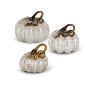 Cream and Gold Swirl Glass Pumpkins - 3 sizes