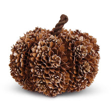 Load image into Gallery viewer, Brown Shaved Wood & Pinecone Pumpkin w/Husk Stem - 3 sizes