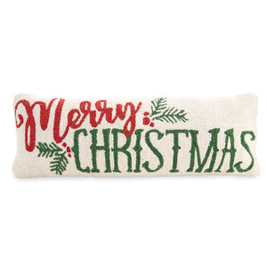 Merry Christmas Hooked Pillow | Mud Pie
