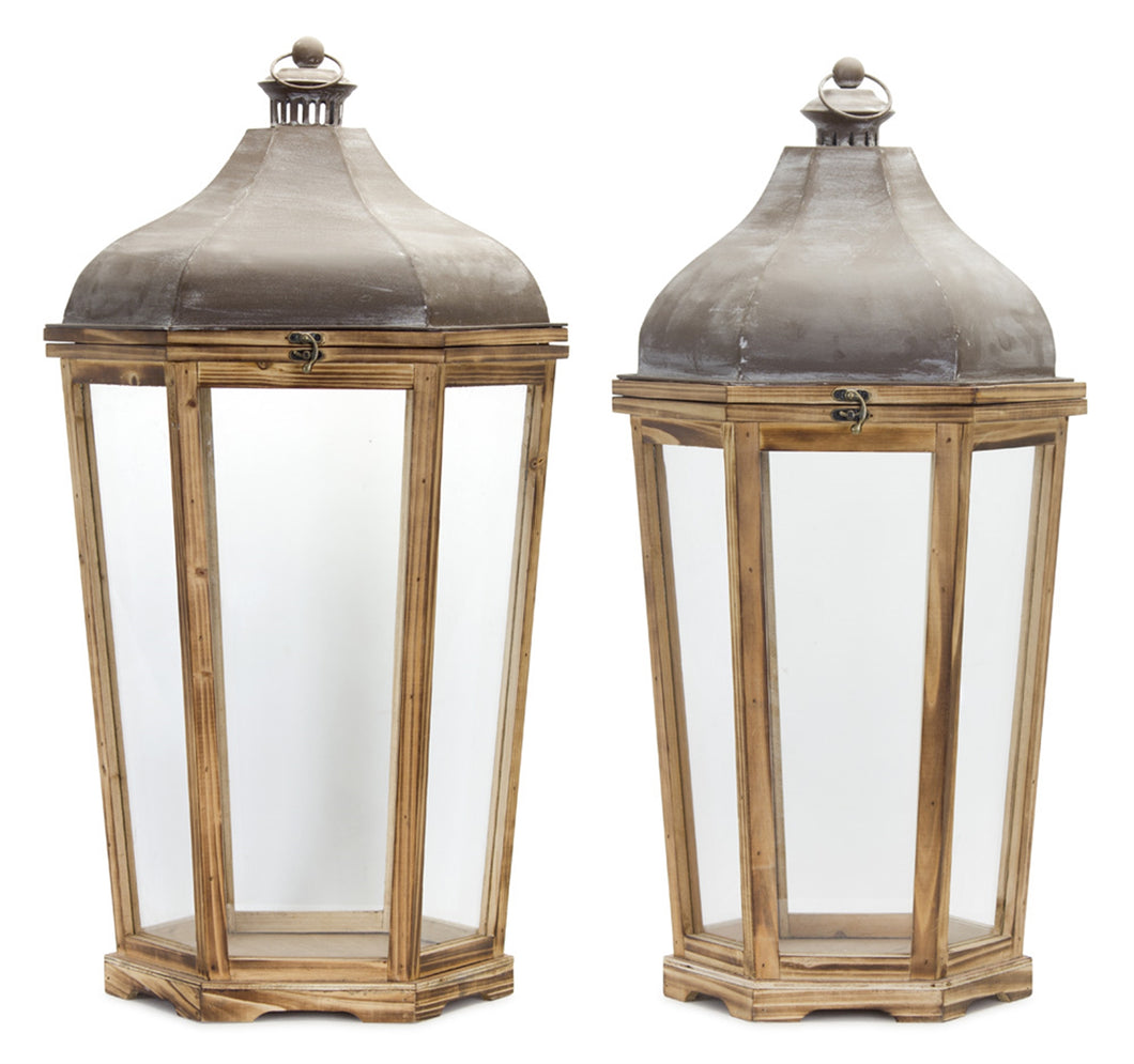 Iron and Wood Lantern - 2 sizes