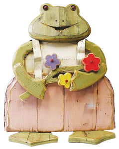 Wood/Tin Frog with Flower
