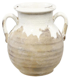 "10"" Hand Thrown Round Vase with Ear Handles - White Crackle"