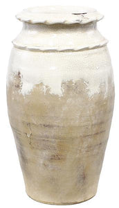 "13"" Hand Thrown Round Vase with Waffle Rim - White Crackle"