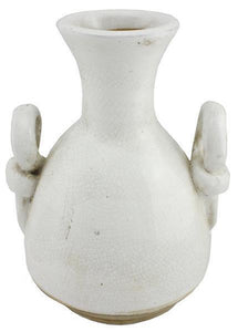 "10.5"" Hand Thrown Stoneware Vase - Antique White Crackle"