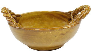 "11.75"" Hand Thrown Stoneware Bowl - Tuscan Gold"