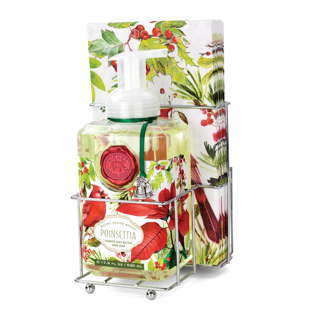 Poinsettia Foaming Hand Soap Napkin Set | Michel Design Works