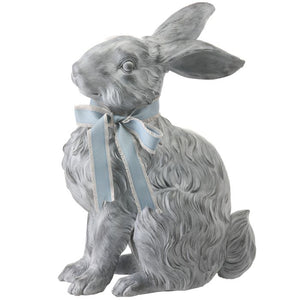 Resin Long Hair Bunny with Bow