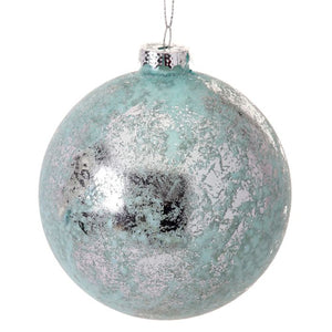 Silver Foiled Blue Glass Ball Ornament