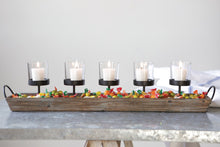 "Load image into Gallery viewer, 29-1/2""L Wood & Metal Votive Holder w/ 5 Glass Votives 