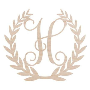 Wreath Design Wood Monogram