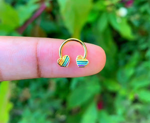 Rainbow Heart Septum Ring