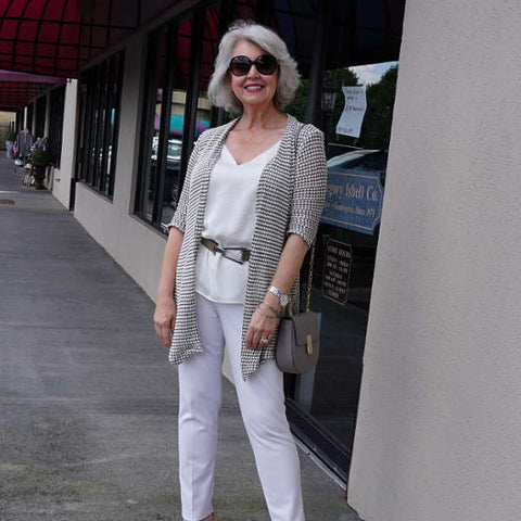 cream jacket modeled by Susan Street from Susan after 60, fashion for women over 60