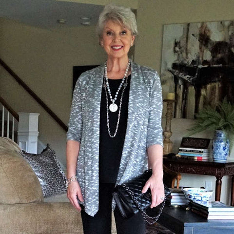Silver gray jacket modeled by Susan Street, Susan after 60. Fashion for women over 60