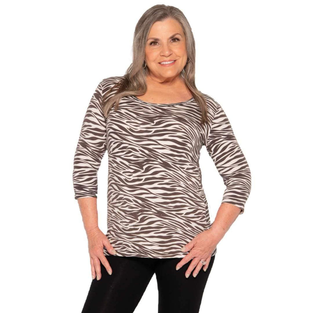 zebra print women's scoop neck top