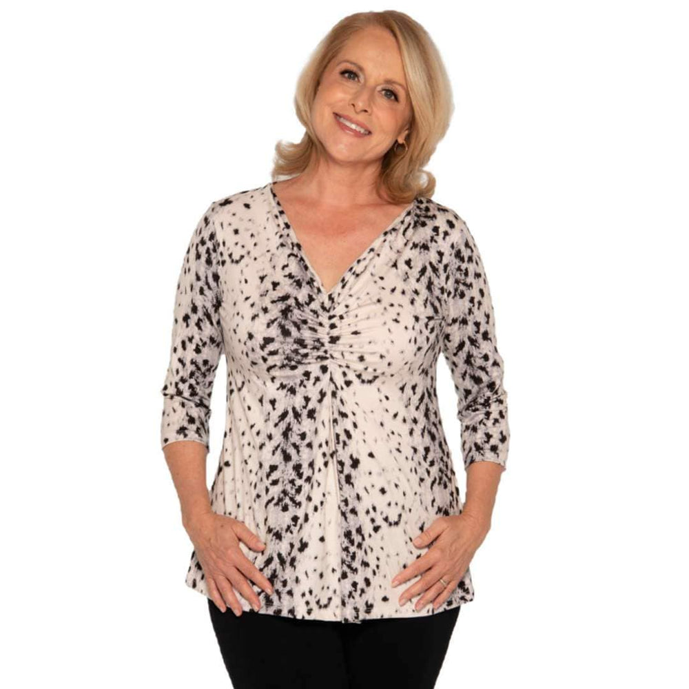 Animal print snow leopard women's top