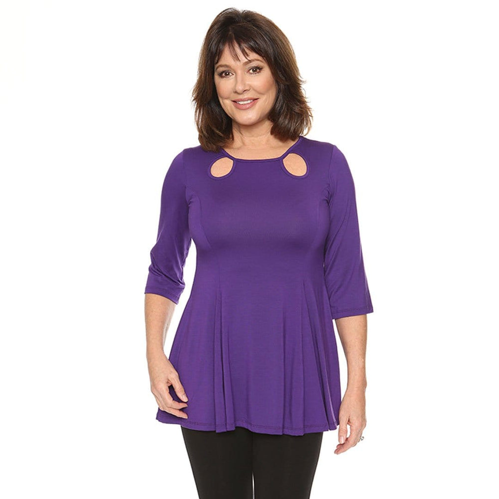 violet women's top fit and flare with cutouts