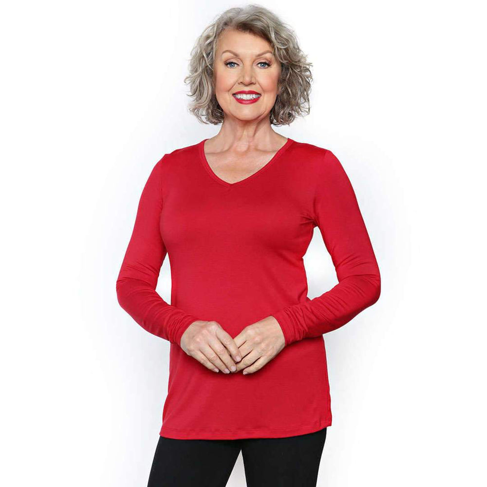 red long-sleeved women's top with v-neck