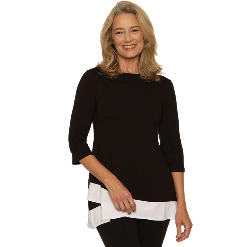 Classy Two-Toned Woman's Top Tops Black-White / S Covered Perfectly